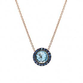 Mimì Happy Roségold-Halskette mit blauem Topas und blauem Saphirpavé