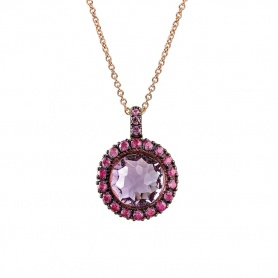 Mimì Happy rose gold necklace with amethyst pendant and pink sapphires