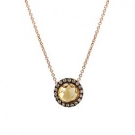 Mimì Happy Roségold-Halskette mit Diamanten, Pavé und zentralem Citrin