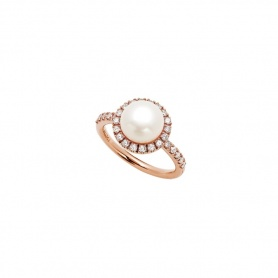 Mimì Happy Pink gold ring with diamonds shank and white pearl