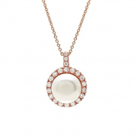 Mimì Happy rose gold necklace with white pearl and diamonds