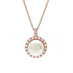 Mimì Happy Roségold-Halskette mit weißen Perlen und Diamanten