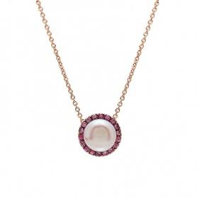 Mimì Fröhliche Roségold-Halskette mit violetten Perlen und rosa Saphiren
