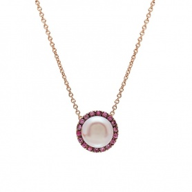 Mimì Happy pink gold necklace with purple pearl and pink sapphires