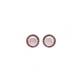 Mimì Happy Roségold-Ohrringe mit violetten Perlen und rosa Saphiren