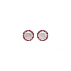 Mimì Happy rose gold earrings with purple pearl and pink sapphires