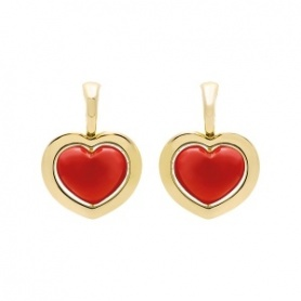 Drop earrings Romeo and Juliet gold and coral paste collection