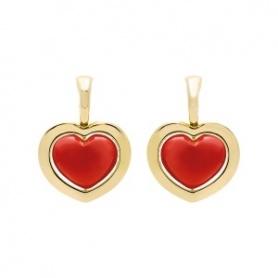 Tropfen-Ohrringe Romeo und Julia Gold- und Korallenpastenkollektion