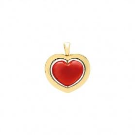Pendente cuore collezione Giulietta e Romeo oro e pasta corallo