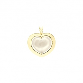 Gold and white quartzite Giulietta and Romeo heart pendant