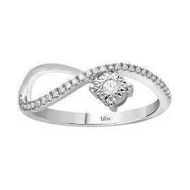 Anello Bliss collezione Pansiero in oro e diamanti modello infinito solitario
