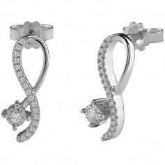 Bliss earrings Pansiero collection in gold and diamonds infinite model