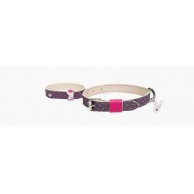 Paar Hundehalsband und Armband halten mich Chihuahua und Herzen
