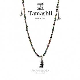 Halskette Mala Tamashii Mudra Achat Musky Neuheit Silber - NHS1500-17