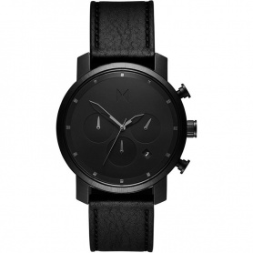 Watch MVMT Black Leather chronograph leather strap -MC02-BLBL