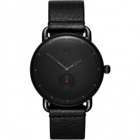 Watch MVMT Revolver Basin quartz black leather red lancet hand