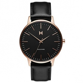 MVMT Boulevard S Monica watch in black leather with vintage rose case