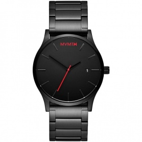 Watch MVMT Classic Black Link utra thin black red hands