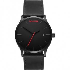 Uhr MVMT Classic Black Leder ultraflacher schwarzer Sekundenzeiger rot