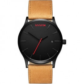 Watch MVMT Classic Black Tan utra thin black leather