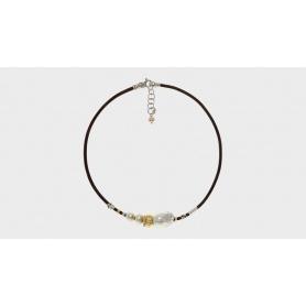 Collana Misani gioielli Aurora con oro, argento, perle e cuoio toscano