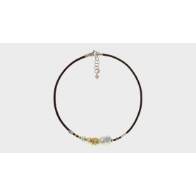 Misani necklace Aurora jewelry with gold, silver, pearls and Tuscan leather