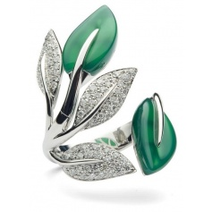 Green agate and gold leaf ring Mimì diamonds-AX1003B8GVB