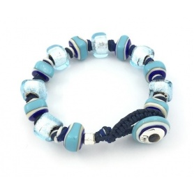 Bracciale Moi Unico con perle in vetro blu ed oro bianco