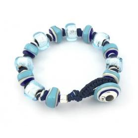 Moi Unico Armband mit Perlen aus blauem Glas und Weißgold