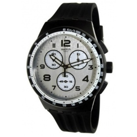Swatch watch Nocloud gray black chrono silicone - SUSB103