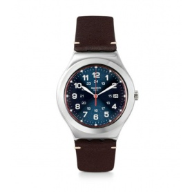 Swatch watch Happy Joe Flash in leather silver case - YWS440