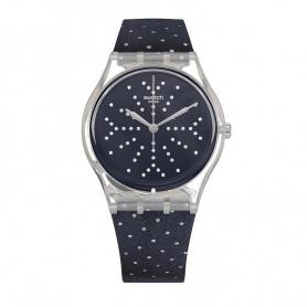 Swatch orologio Flocon velluto blu a pois silver - GE262
