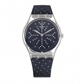 Swatch watch Flocon blue velvet with polka dots silver - GE262