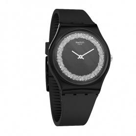Swatch orologio Sparklenight silicone nero con swarovski silver - GB312