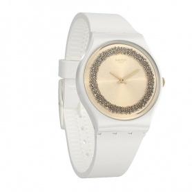 Swatch orologio Sparklelight silicone bianco con swarovski neri - GW199