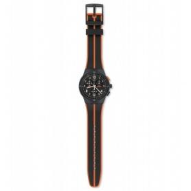 Swatch orologio Laserai crono nero arancio silicone - SUSA402