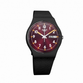 Swatch Uhr Sir Red schwarz Bronze Bordeaux Silikon - GB753