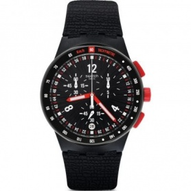 Swatch Watch Stand Hall chronograph black with red buttons - SUSB411