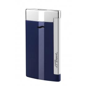 DuPont Feuerzeug Slim7 Linienfarbe Blau lackiert und Silber verchromt-027709