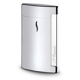 Dupont Feuerzeug Minijet Silber verchromt glatt graviertes Logo - 010502
