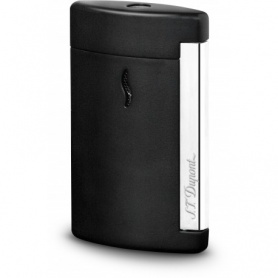 Dupont Feuerzeug Minijet verchromt schwarz matt graviertes Logo - 010503