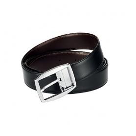 Cintura uomo Dupont pelle lucida nero e testa di moro doubleface - 9470120