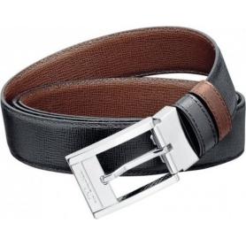 Cintura uomo Dupont pelle motivo invecchiato nero marrane doubleface