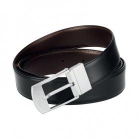 Cintura uomo Dupont pelle nero marrane doubleface elegante