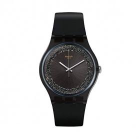 Swatch watch Darksparkles silicone black with swarovski gray - SUOB156
