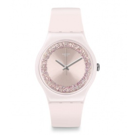 Swatch orologio Pinksparkles silicone rosa con swarovski bianchi - SUOP110