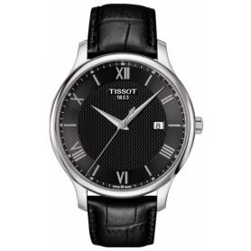 Tissot Tradition Uhr aus schwarzem Leder T0636101605800