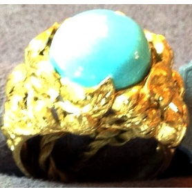 Gold ring with turquoise-AOT665