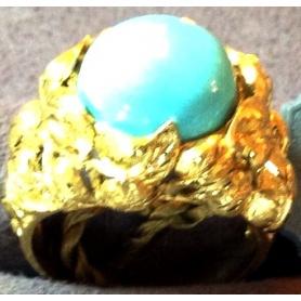 Goldener Ring mit Türkis-AOT665