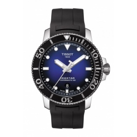 Tissot Seastar Powermatic blue rubber watch T1204071704100